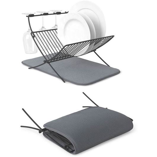 Picture of XDRY folding dish rack with mat grey