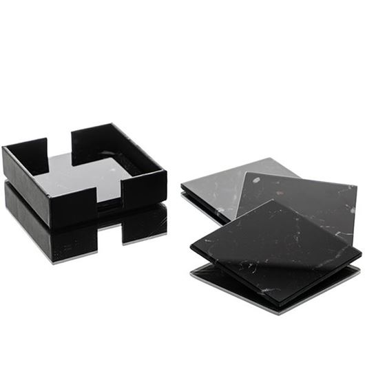 Picture of MATT coaster 11x11 set of 4 black