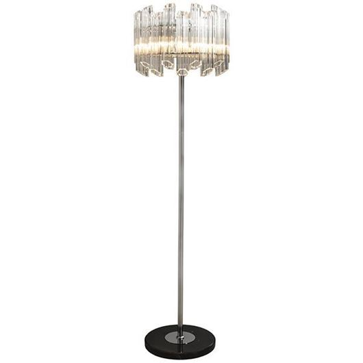 Picture of SUAL floor lamp h165cm clear/stainless steel