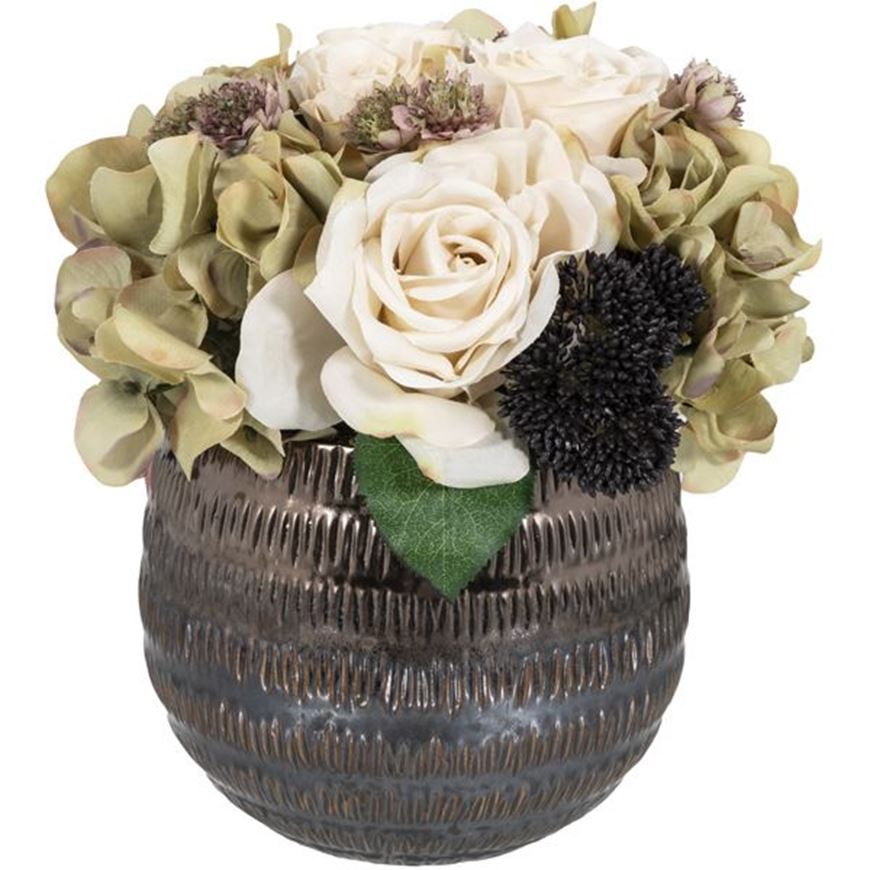 Picture of FLORAL arrangement h26cm cream/copper