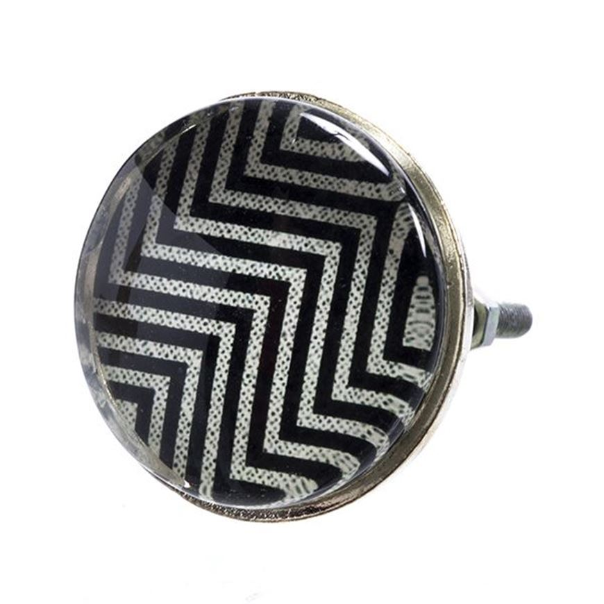 Picture of EVIE zigzag knob d5cm black and white