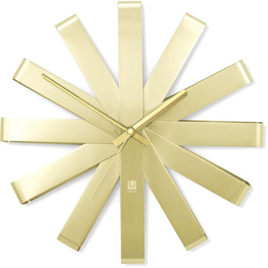 Picture of RIBBON clock d31cm brass