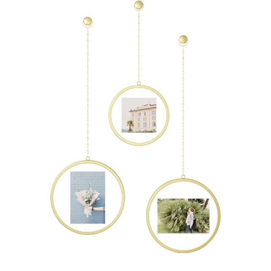 Picture of FOTOCHAIN photo holder round set of 3 brass