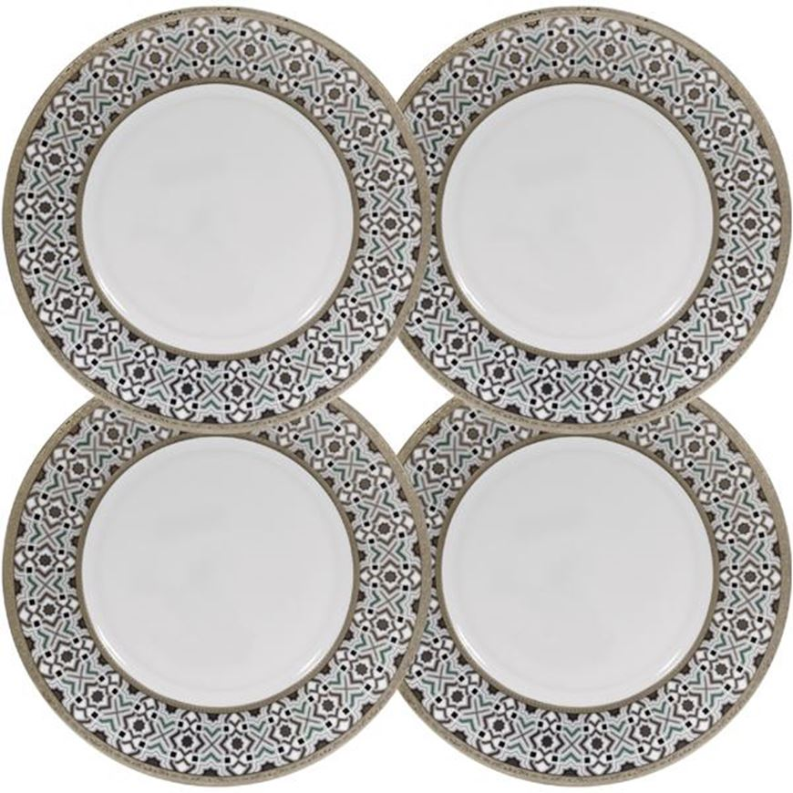 Picture of KENRIC dinner plate d27cm set of 4 blue/gold