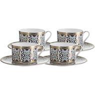 KENRIC tea cup and saucer set of 4 blue/gold
