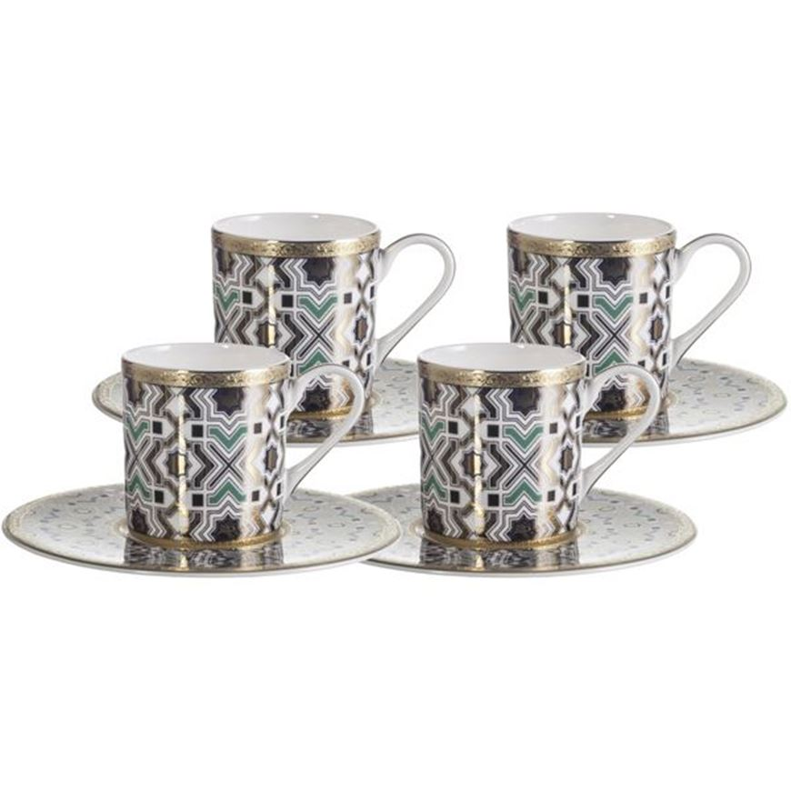 Picture of KENRIC espresso cup and saucer set of 4 blue/gold