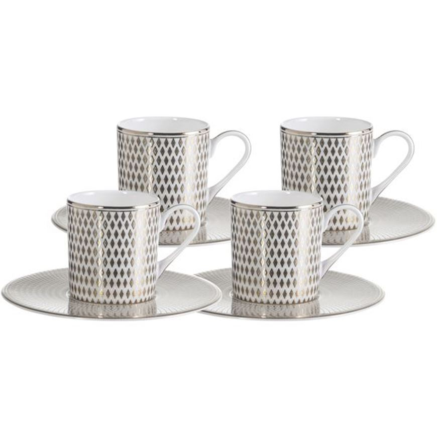 Picture of ORLIE espresso cup and saucer set of 4 white/gold