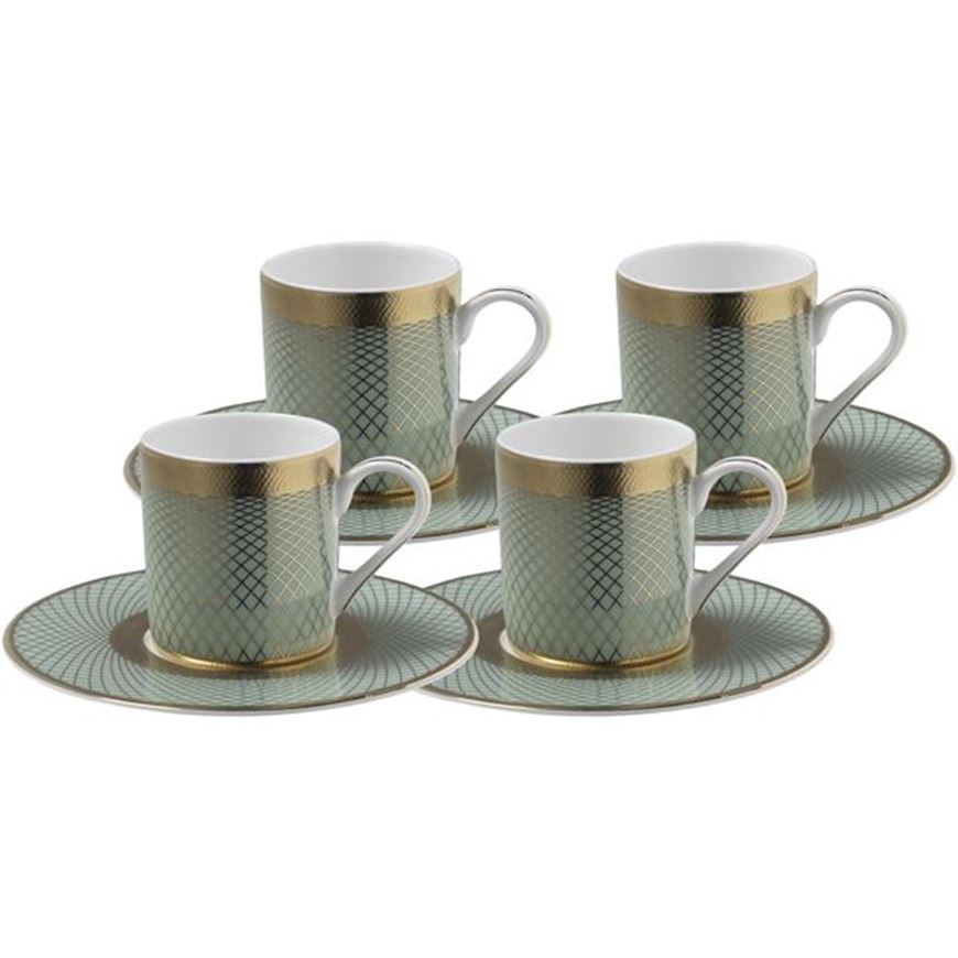 Picture of TIFFANY espresso cup and saucer set of 4 blue/gold