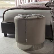 COCO stool d47cm microfibre taupe