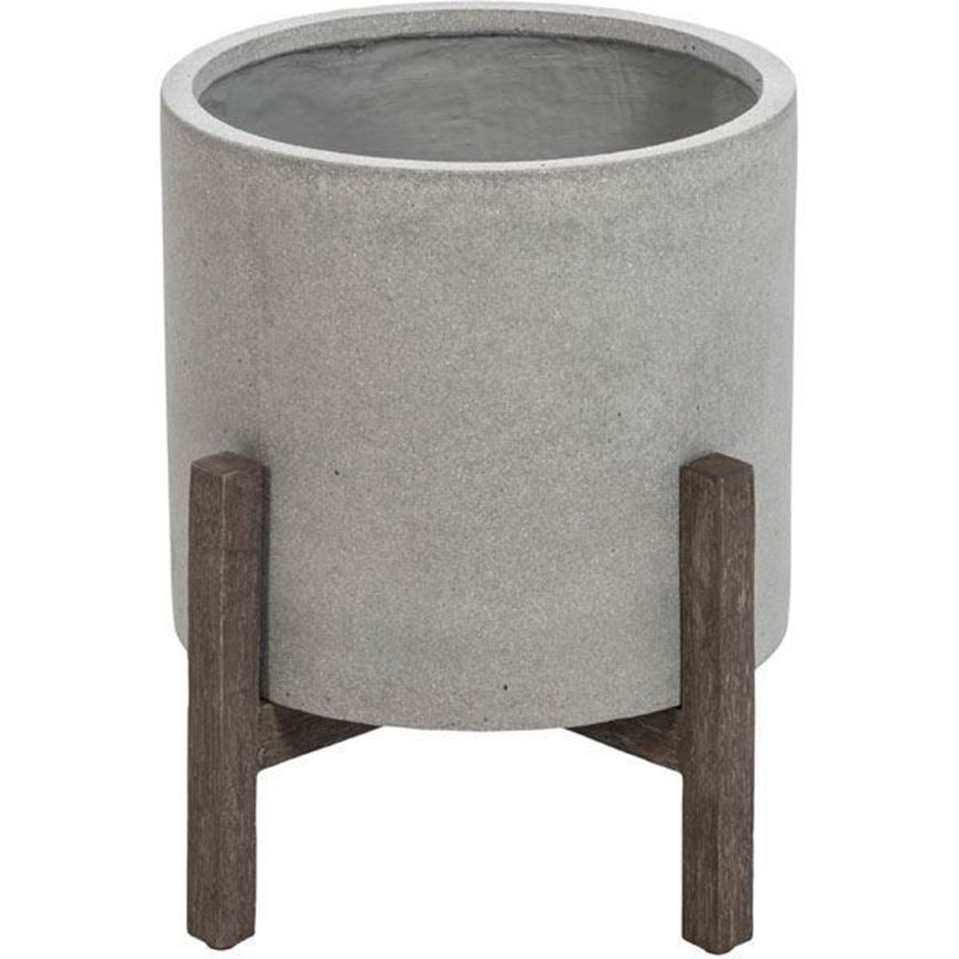 FICONSTONE planter with stand h33cm grey