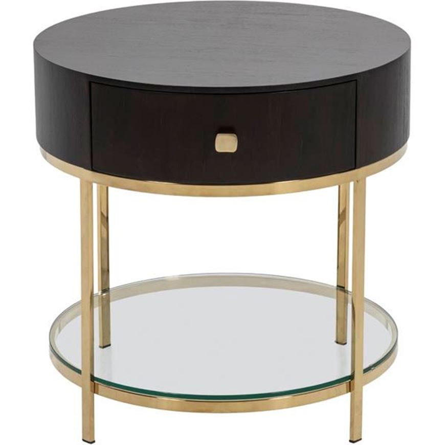Picture of PAULO side table d60cm brown/gold
