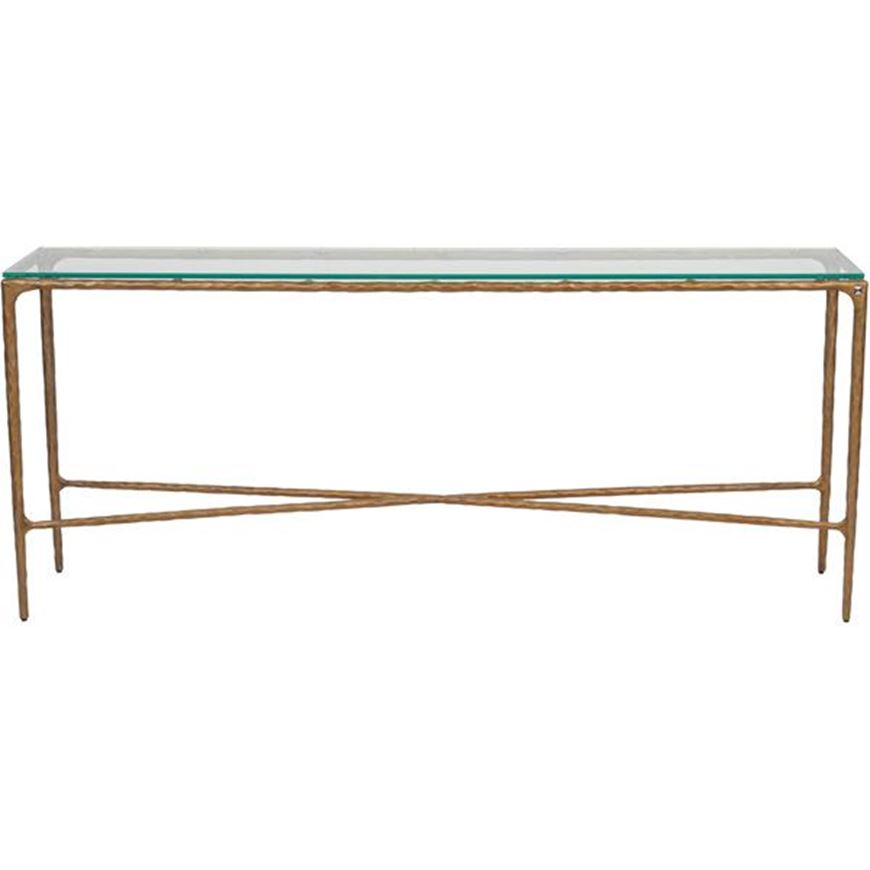 QUEEN console 182x35 clear/brass