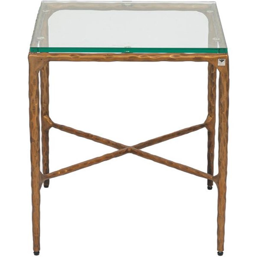 QUEEN side table 46x46 clear/brass