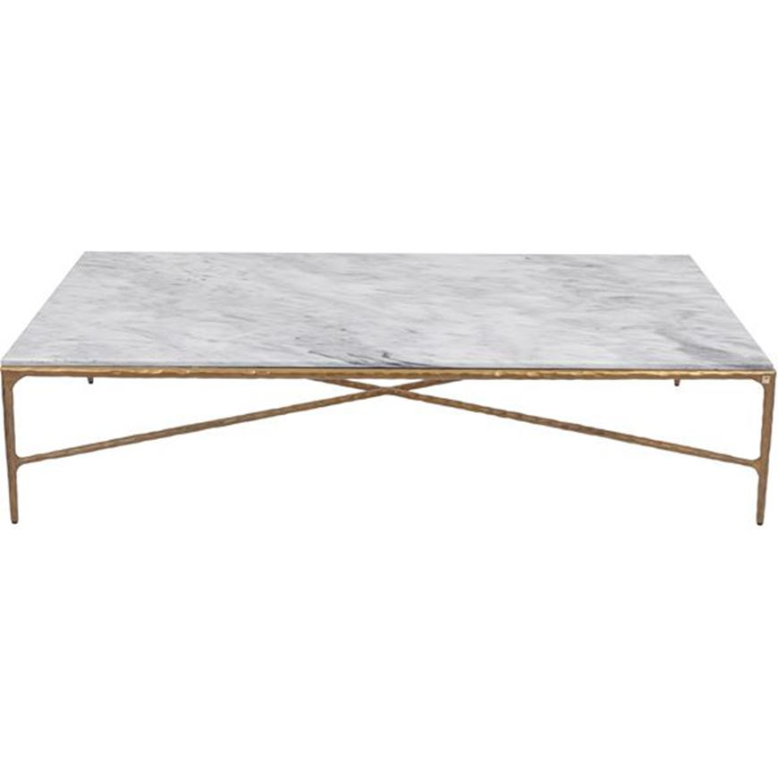 QUEEN coffee table 170x110 white/brass