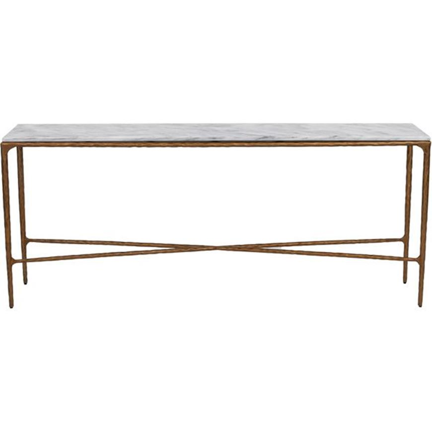 QUEEN console 182x35 white/brass