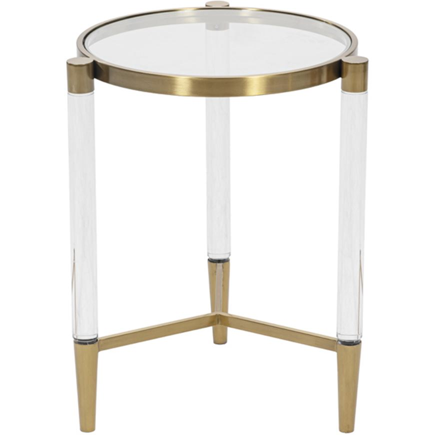 Picture of SLEEK side table d43cm clear/gold
