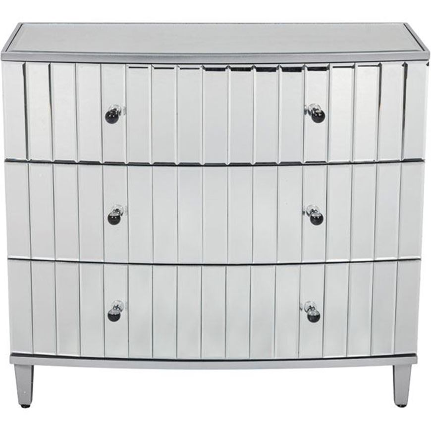 FREI chest 3 drawers clear/silver