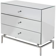 CHLOE chest 3 drawers clear/silver