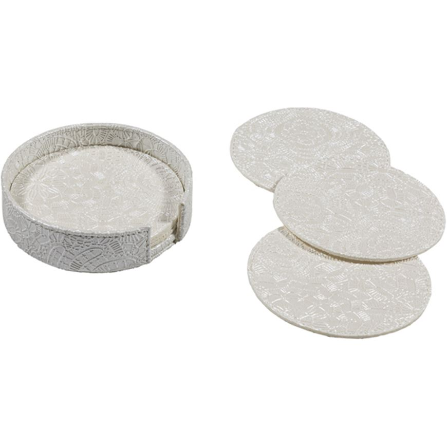 Picture of ADANA coaster d12cm set of 6 white