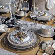 OBERON dinner plate d27cm set of 4 grey/gold