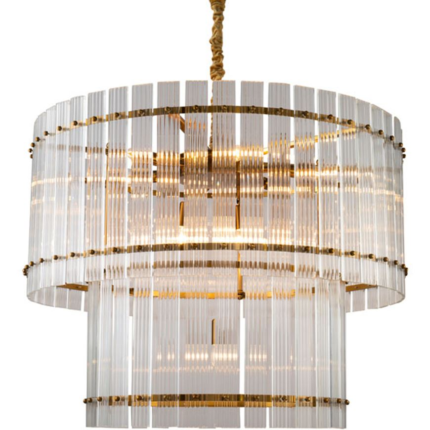 Picture of BRIGHT 10 chandelier d88cm clear/brass