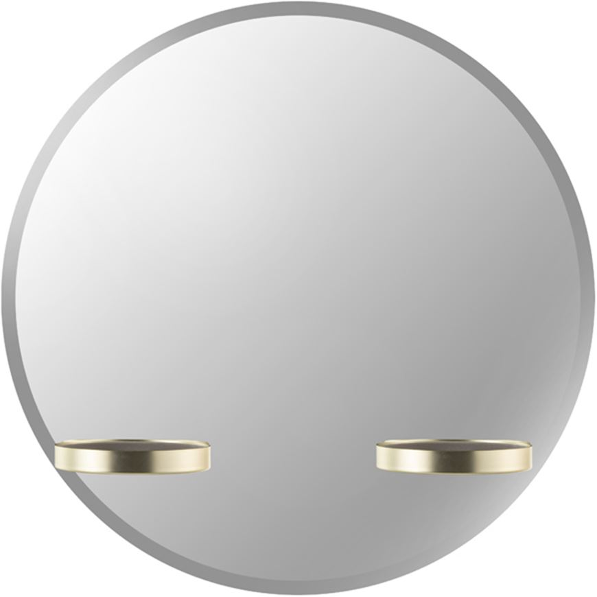 Picture of PERCH mirror with shelf d61cm brass