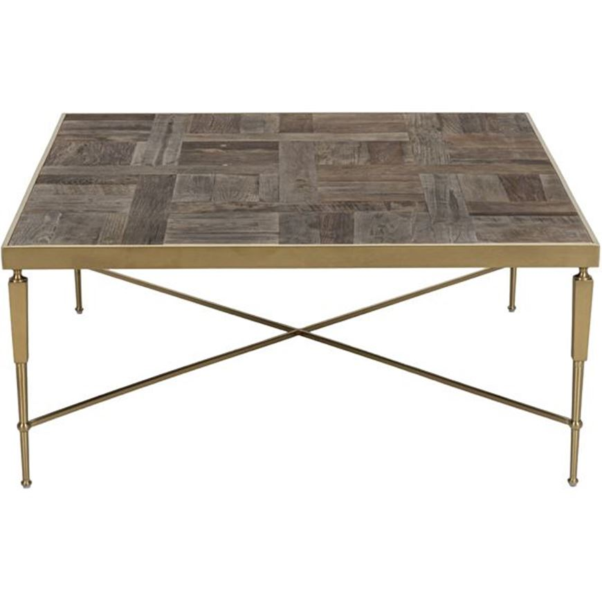 BURLY coffee table 100x100 natural/gold