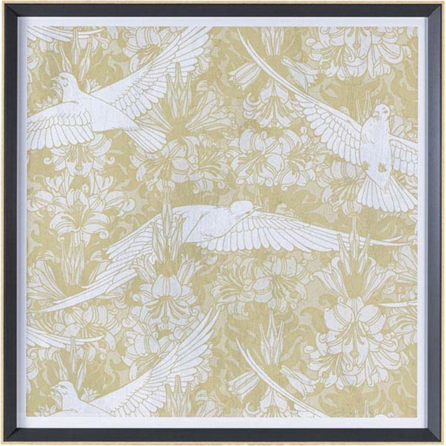 Picture of BIRD III print 74x74 brown